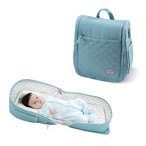 Baby Reisebett und Tasche/Umhängetasche/Rucksack 4 in 1, SUNVENO Baby Nest Bett drinnen und draußen, tragbare Liege für Reisen, 0-12 Monate, Grün