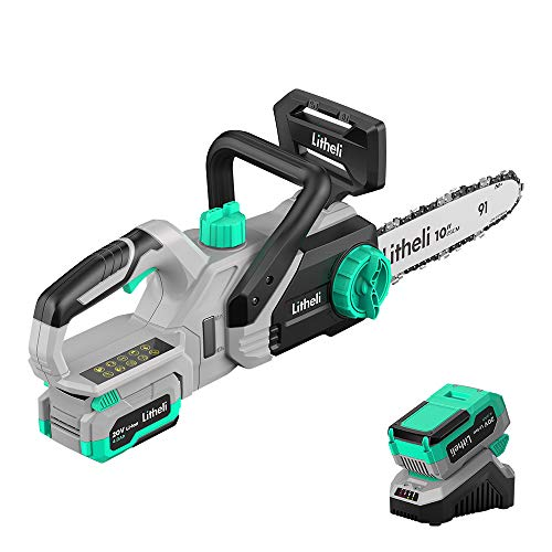 Litheli 20V Cordless Battery Chain saw,10 inches Electric Chainsaw, with 4.0Ah Lithium Battery & Charger, for Tree Pruning, Branch Cutting, Yard, Garden