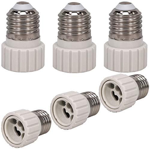 ZDCDJ 6 adaptadores E27 E27 a GU10 para base de lámpara, adaptador de base de lámpara E27 a GU10 para lámparas incandescentes, LED, halógenas, de ahorro de energía