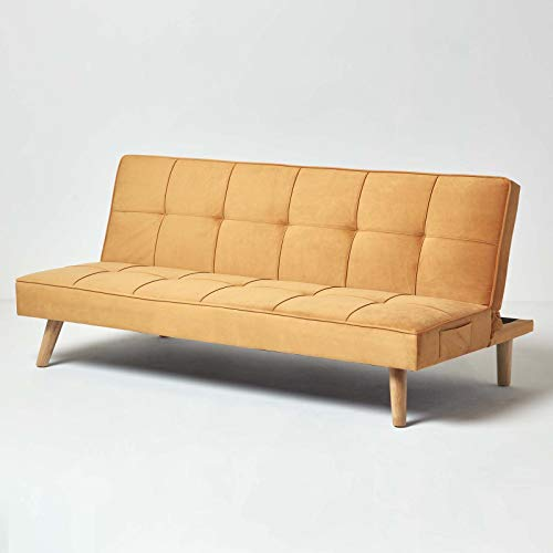 HOMESCAPES Velvet Sofa Bed Gold 3 Seater Sofa Click Clack Bed Sleeper Retro Range 'Bower' Mustard Bed Settee on Wooden Legs for Study Guest and Living Room