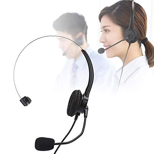 Telephone Monaural Headset, Landline Phone Headphone with Microphone for Home Use, Suitable for Home/Office Telephone, Long Time Wearing without Fatigue, Plug and Play.