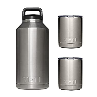YETI Rambler 64oz Vacuum Insulated Stainless Steel Bottle with Cap (Stainless 64 & 2 Lowballs)