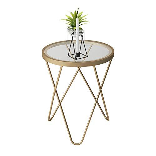 Feifei Table d'appoint en Fer forgé + Verre trempé Rond Or Moderne Maison canapé Table d'appoint 47 * 62CM
