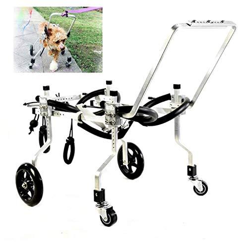 AMITD Super lichte hond rolstoel aluminiumlegering honderrolwagen loophulp 4 wielen verstelbare loophulp hondensteun bruikbaar 10-19 kg 1 1