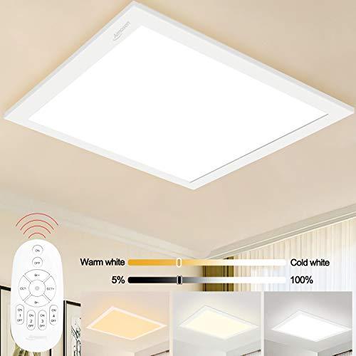 Aimosen Dimmbar LED Deckenleuchte Panel 30x30 cm, Quadrat Unterputz Deckenlampe mit Fernbedienung, 2700K-6500K Farbtemperatur WarmWeiß Neutralweiß KaltWeiß Licht Bürolampe, Werkstattlampe, Garagelampe