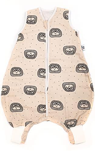 Hosenmax Saco de dormir de verano con piernas – Muselina de bambú orgánico – equivalente a TOG 1.0 – Saco de dormir de entretiempo con pies – 'Querido León' (Verspielter Löwe) Tamaño 60 cm
