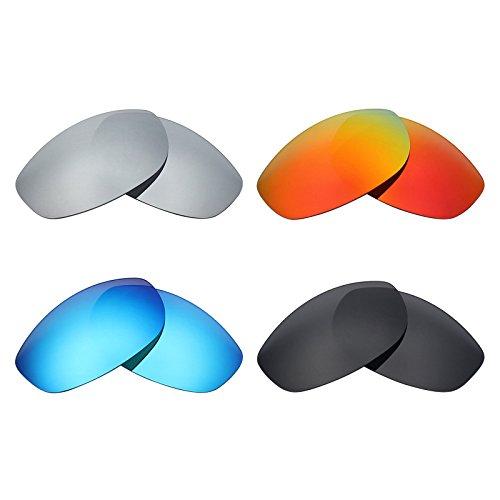 MRY 4Paar Polarisierte Ersatz Gläser für Oakley Gratwanderung sunglasses-stealth schwarz/fire rot/ice blau/silber titan