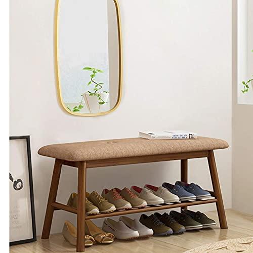YQCX Zapatero,Banco de Zapatos de Bambú para Entrada, Estantería de Zapatos de 2 Niveles, Zapatos de Ahorro de Espacio Estante de Alenamiento de Bastidores con Asiento de Esponja de