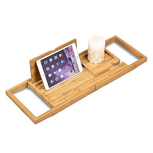 Bamboe Badblad Plank Boven Bad Caddy Dienblad Houten met Uitschuifbare Zijkanten/Wijnglas/Smartphone Houder, Compact en past in de Meeste Badmaten,Bamboo