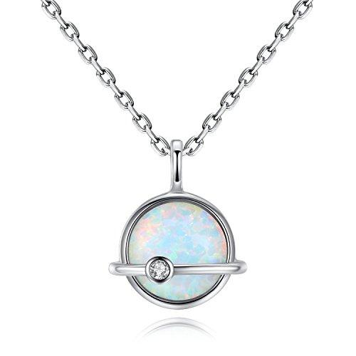 VIKI LYNN Opal Halskette 925 Sterling Silber Oktober Geburtsstein Schmuck für Frauen (Weiß Opal)
