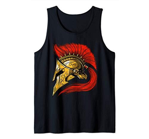 Spartan Warrior Helmet Ancient Greek Mythology Roman History Tank Top