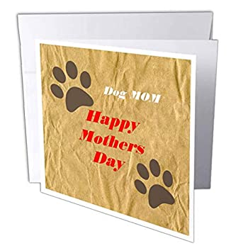 3dRose Lens Art by Florene - Mothers Day - Image of Happy Mothers Day Dog Mom with Paws - 1 Greeting Card with Envelope  gc_309496_5
