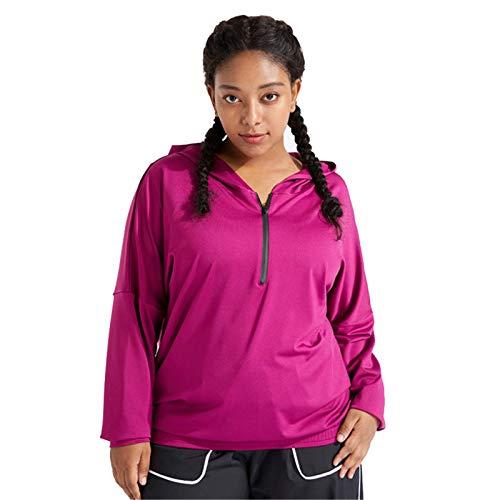 Chaqueta deportiva con capucha para mujer, manga larga, media cremallera, talla grande, color rosa, talla L