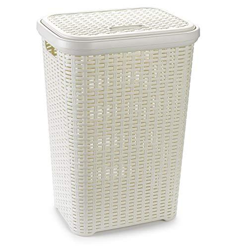 Plastic Forte Pongotodo Rattan Cesto Mimbre para la Colada, Blanco, 60 litros