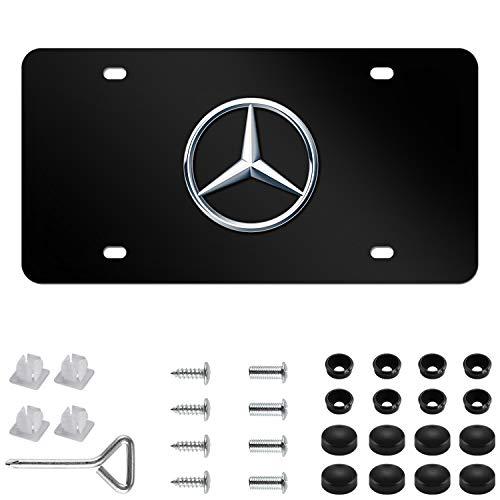 "/""MERCEDES/"" Logo LASER Style Black Stainless Steel License Plate Frame W// Caps"