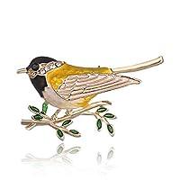 Flybloom かわいい鳥の枝ブローチラインストーンブローチレディースブローチ(ブラック)