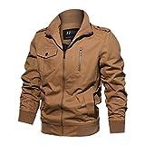 YSENTO Mens Lightweight Slim Fit Jackets Pilot Classic Outerdoor Cotton Windbreaker Jackets Coats(01Khaki,L)