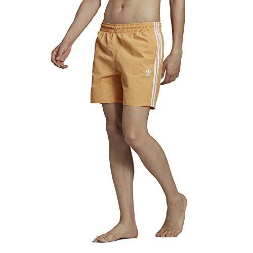 adidas Bañador con 3 rayas. naranja M