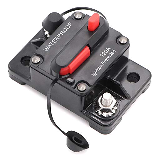 Welugnal 120 Amp Automotive Marine Circuit Breaker with Manual Reset Surface-Mount for Trolling Boat Motor Battery Thermal 12V-48V DC Waterproof