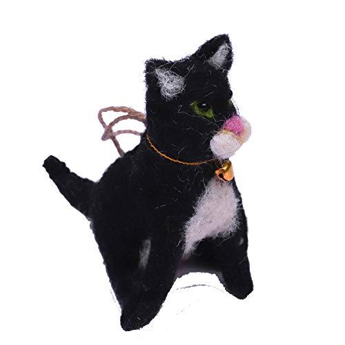 Daddy Shoppe Handmade Needle Felt Black Hanging Cat Toy Gift Ornament Figure