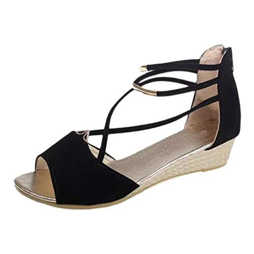 Sandalias con Punta Abierta Mujer Zapatos Tacón Bajo Cómodo Sandalias Cuñas Mujer Verano 2019 Tacones Altos Sexy 3 Cm Sandalias POLP