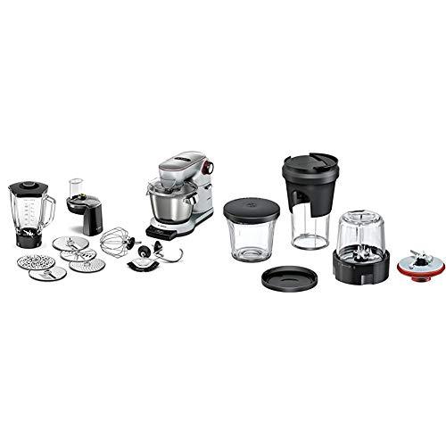Bosch MUM9DT5S41 Optimum Küchenmaschine, Edelstahl, 5.5 liters, silber & MUZ9TM1 Lifestyle Set TastyMoments, 5-in-1 Multi-Zerkleinerer-Set für Küchenmaschinen OptiMUM