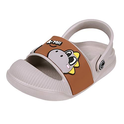 Beslip Toddler Boys Girls Clogs - Baby Boy Girl Anti-Slip Beach/Pool Sandals Closed Toe Slip on Water Shoe Khaki 16