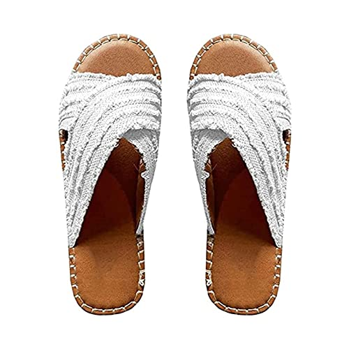 TFCK Flat-Bottomed Straw Cross Fisherman Shoes Bohemia Outer Wear Sandals And Slippers Women 36 White