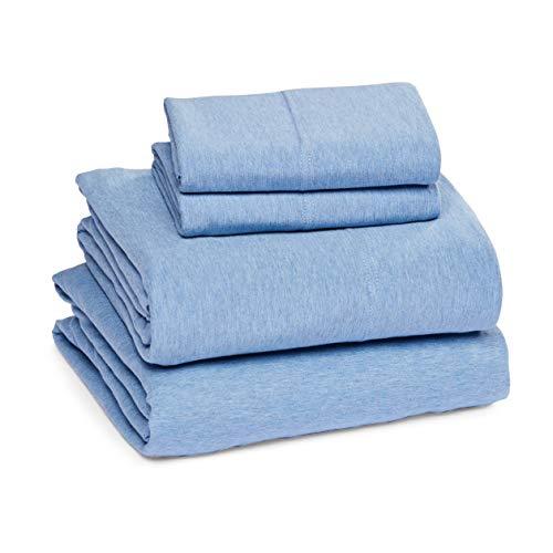 Amazon Basics - Juego de sábanas jaspeado de punto - Cama doble, azul, Matrimonio doble