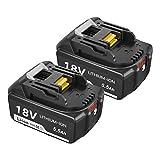 2X Topbatt BL1860B 18V pour Makita batterie de rechange BL1860B BL1860 BL1850B BL1850 BL1840B BL1840 BL1830B BL1830 BL1820 BL1815 BL1825 BL1835 BL1845 LXT-400 avec Indicateur LED