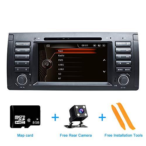 ZLTOOPAI für BMW E39 E38 M5 X5 5er Doppel-Din-Kopfeinheit 7 Zoll kapazitiver Multi-Touchscreen-Autoradio GPS-Radio mit kostenloser Kartenkarte Werkzeug zum Entfernen der Rückfahrkamera