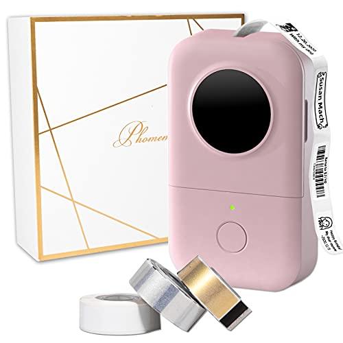 D30 Label Maker Set-3 Rollen Thermopapier im Lieferumfang enthalten, Thermo-Bluetooth-Etikettendrucker, Mini-Etikettiergerät, tragbarer Aufkleberdrucker, kompatibel mit Phomemo D30 iOS Android, Pink