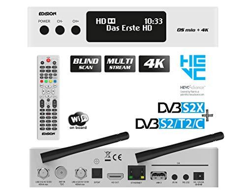 EDISION OS MIO+ 4K UHD Linux E2 Combo-Receiver H.265/HEVC (1x DVB-S2X, 1x DVB-S2/T2/C, OLED Display, Multistream, Blind Scan, 2160p, Dual Band Wi-Fi, Bluetooth, 2X USB, HDMI, LAN, Kartenleser) (Weiß)