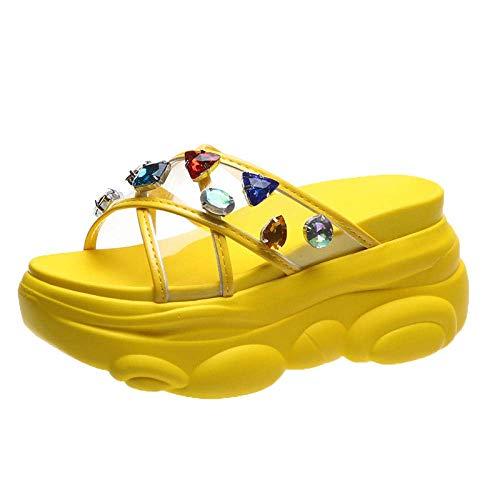 LIUCHANG Escurrir rápida Baño Mula, Zapatillas Hacer más Ancho, Plataforma Sandalias de Yellow_37, Playa tobogán de la Piscina de Zapatos liuchang20