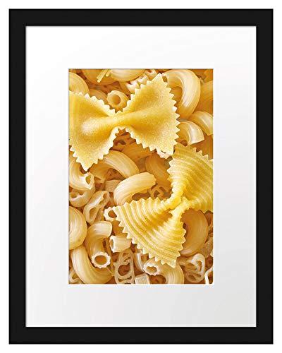 Picati Nudeln Pasta Italia Mischung Bilderrahmen mit Galerie-Passepartout/Format: 38x30cm / garahmt/hochwertige Leinwandbild Alternative
