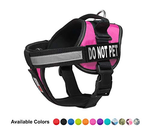 Dogline Vest Harness for Dogs and 2 Removable Do Not Pet Patches, Medium/22 to 30', Pink