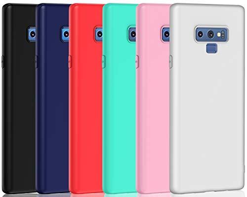 ivoler 6 x Funda para Samsung Galaxy Note 9, Ultra Fina Carcasa Silicona TPU de Alta Resistencia y Flexibilidad (Negro, Azul Oscuro, Rojo,Verde, Rosa, Blanco)
