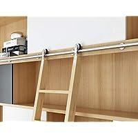 DIYHD - Escalera corredera de acero inoxidable para biblioteca (sin escalera)