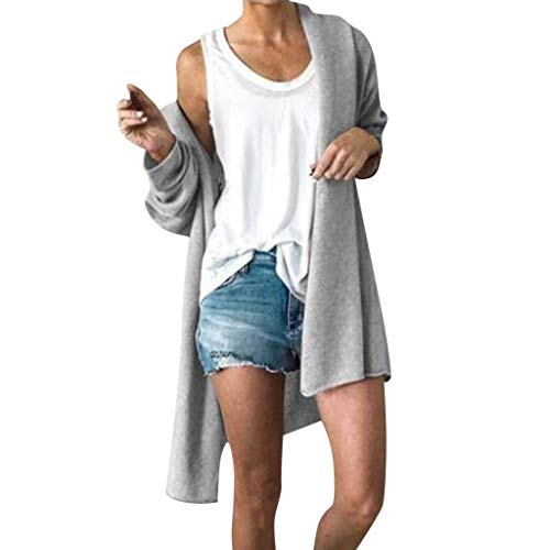 YTZL Gebreid damesvest met lange mouwen voor de zomer, cardigan, lange dunne overgangsjas, damesjassen met lange mouwen, effen jas voor dames, lichte tuniek, open zomerjas, gebreide jas, grijs, S