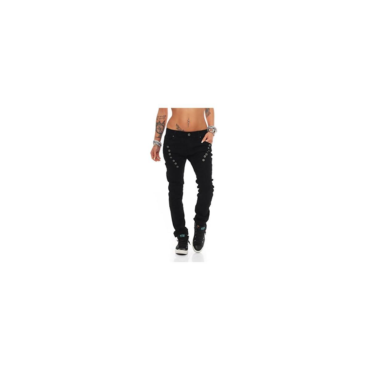 Fashion4Young 10826 MOZZAAR Damen Jeans Jeans 40 Schwarz