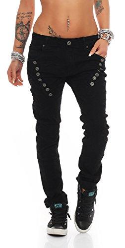 Fashion4Young 10826 MOZZAAR Damen Jeans Jeans Röhrenjeans Haremshose Damenjeans Hüftjeans Baggy (L=40, Schwarz)