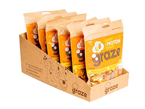 Graze Smokehouse Protein Power - Vegan Savoury Healthy Snack Sharing Bag - 131g (Pack of 6)