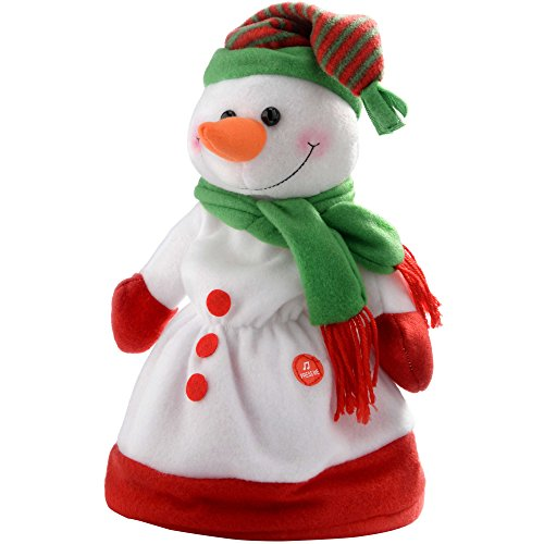WeRChristmas Novelty Dancing Waving and Singing Christmas Snowman Hat, 30 cm - Multi-Colour