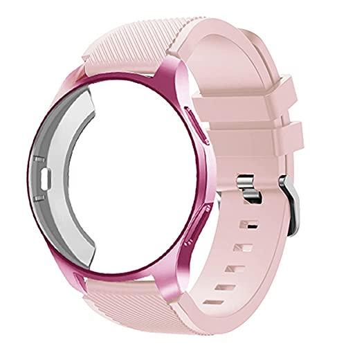 Smartwatch - Funda de silicona y correa compatible con Galaxy Watch de 46 mm, pulsera Gear S3 de 22 mm, Galaxy watch 46mm, Silicona Acero inoxidable, Estuche de reloj + correa,