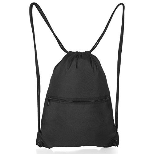 Aiditex - Mochila de deporte para hombre y mujer, con cordón, negro