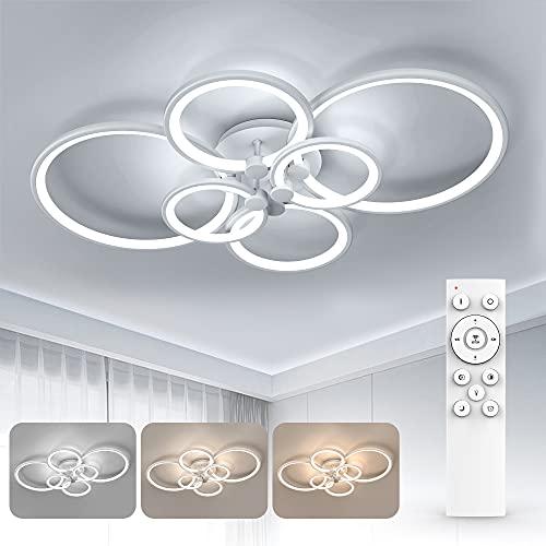 Wayrank Lampadario Led Moderno con 3 Colori, Dimmerabile Plafoniera a LED con Funzione di Memoria, 60W 6 Anello Lampadari Soffitto con Telecomando per Camere da Letto Corridoio Ufficio, 3000K-6500K