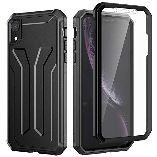 JETech Funda Compatible iPhone XR 6,1 Pulgadas, 360 Grados Tipo Cuerpo Completo Carcasa, Protector Sensible Incorporado Anti-Arañazos, Anti-Choques, Negro
