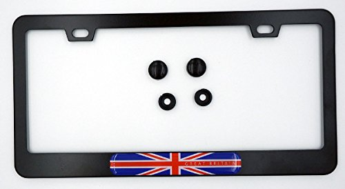 Great Britain British Flag Metal Black Aluminium Car License Plate Frame Holder