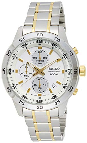 Seiko herenhorloge chronograaf kwarts horloge met roestvrij stalen armband SKS643P1