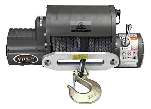 MotoAlliance VIPER Winch 12 VDC 12000lb/5443kg, Integrated Contactor, Wireless Remote, BLACK Rope
